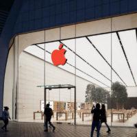 Apple con logo rosso