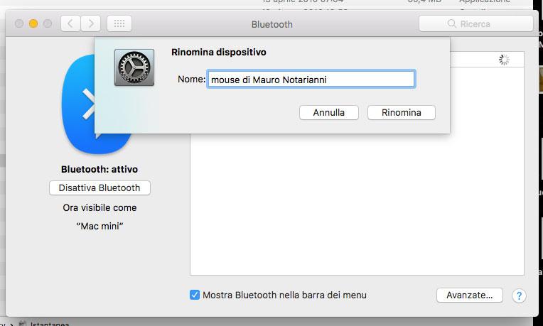 Cambiare nome a dispositivo Bluetooth