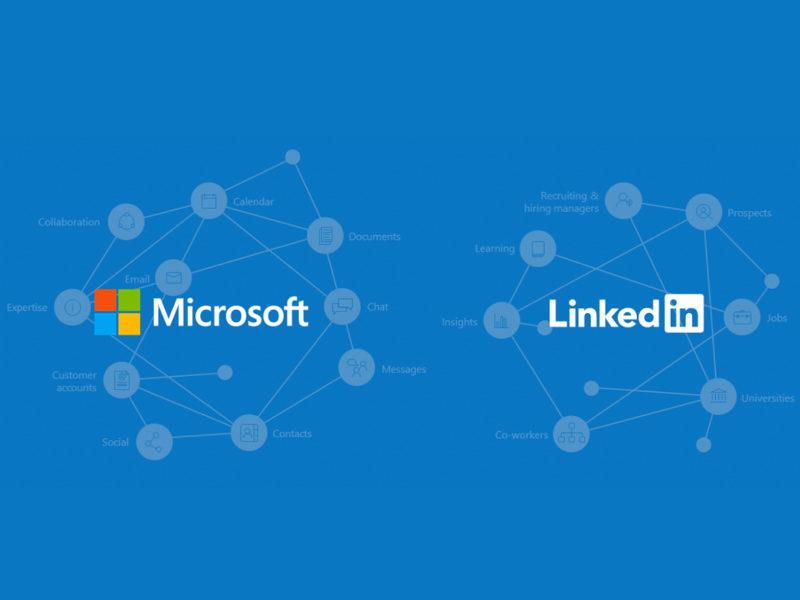 logo microsoft e logo linkedin affiancati su sfondo blu