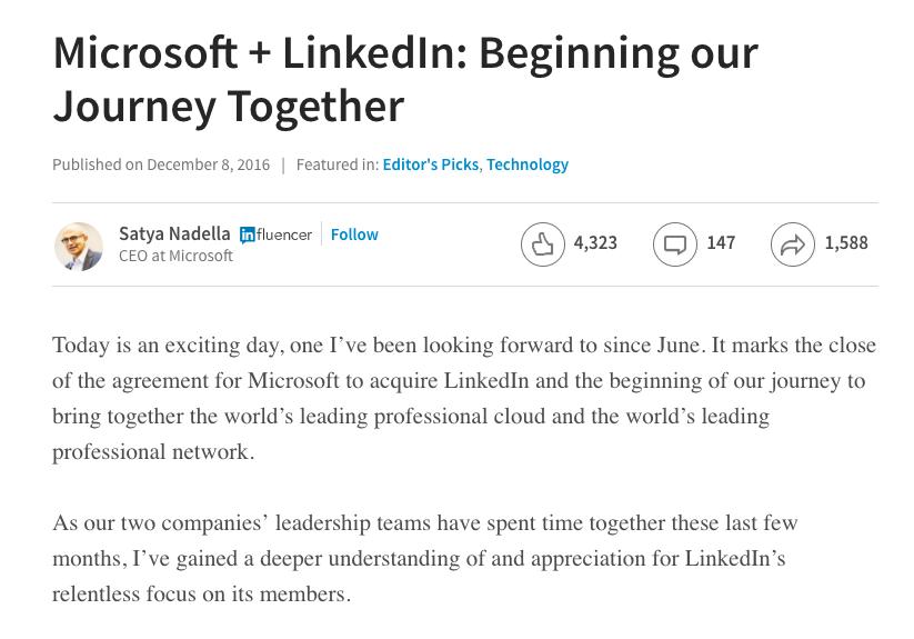 screenshot dell'intervento di satya nadella su acquisizione di linkedin di microsoft