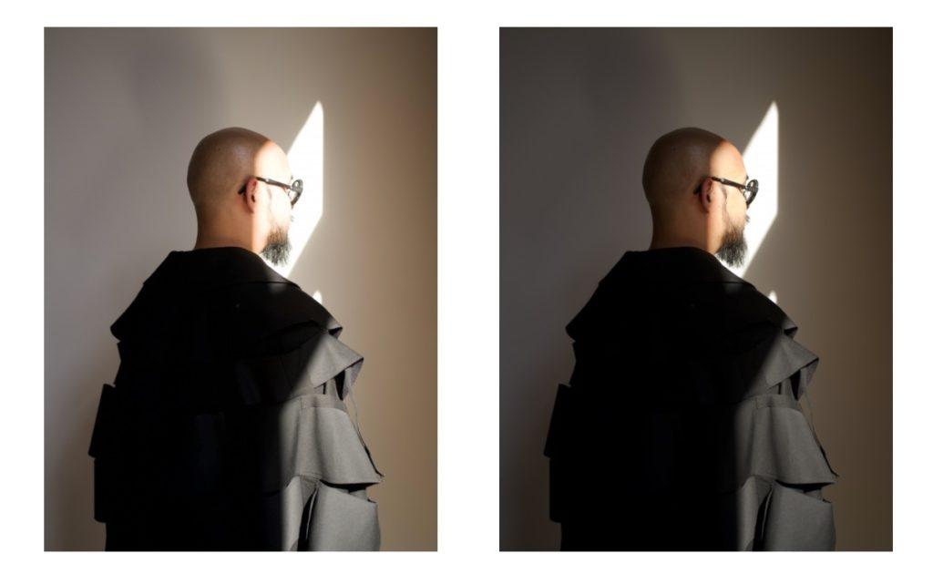 prima e dopo di un'immagin e raw di una persona di spalle, migliorata con vsco