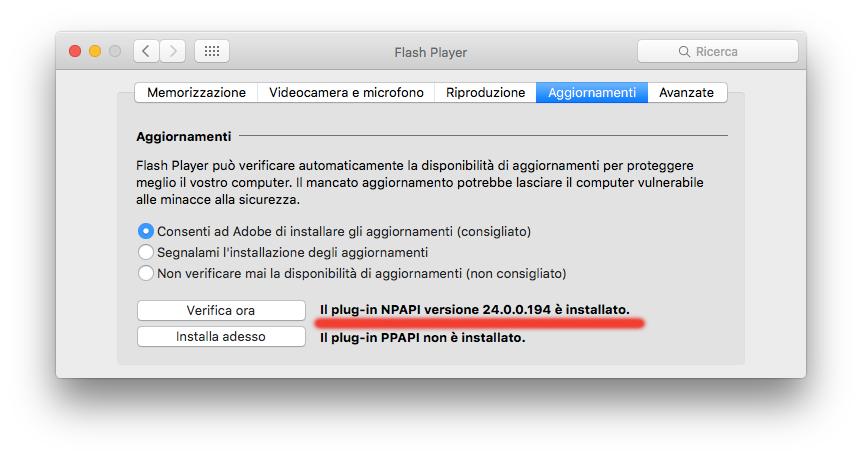 falle in Flash Aggiornamento Flash Player