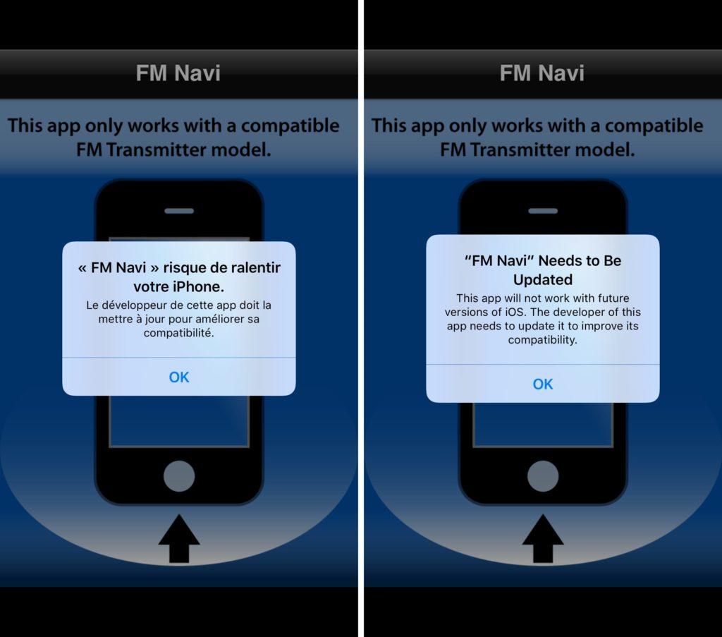 La vecchia app FM Navi avviata su iOS 10.2 (a sinistra) e iOS 10.3 (a destra)