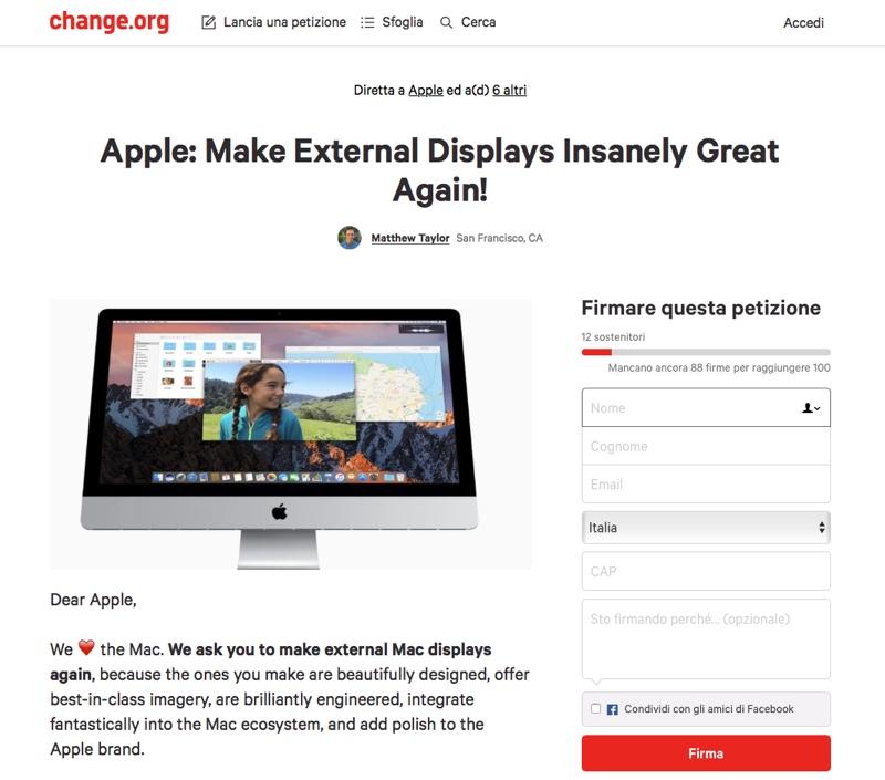 petizione monitor mac