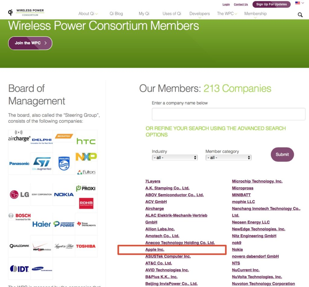 Qi wireless power consortium apple