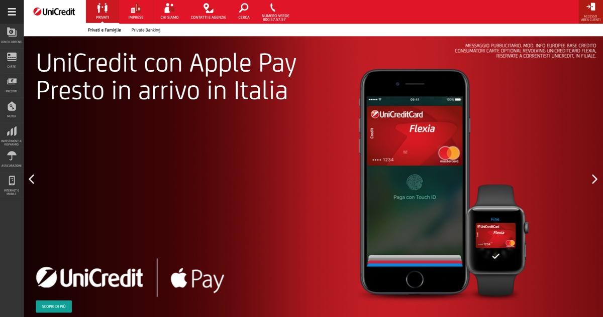 Apple Pay Italia Unicredit web