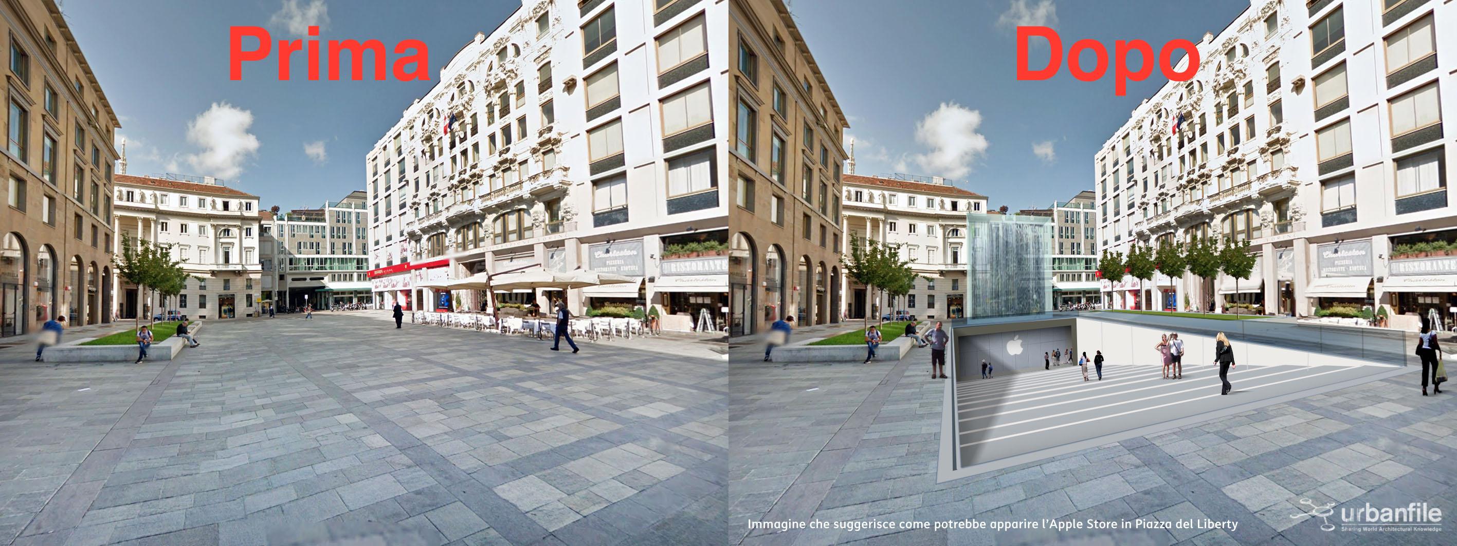Dalla scalinata alle cascate ecco come sar l 39 apple store for Milano shop