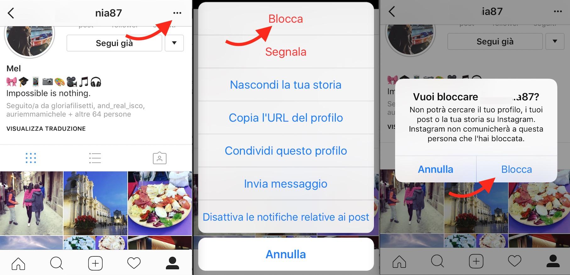 bloccare profilo instagra,