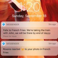 facebook messenger reazioni