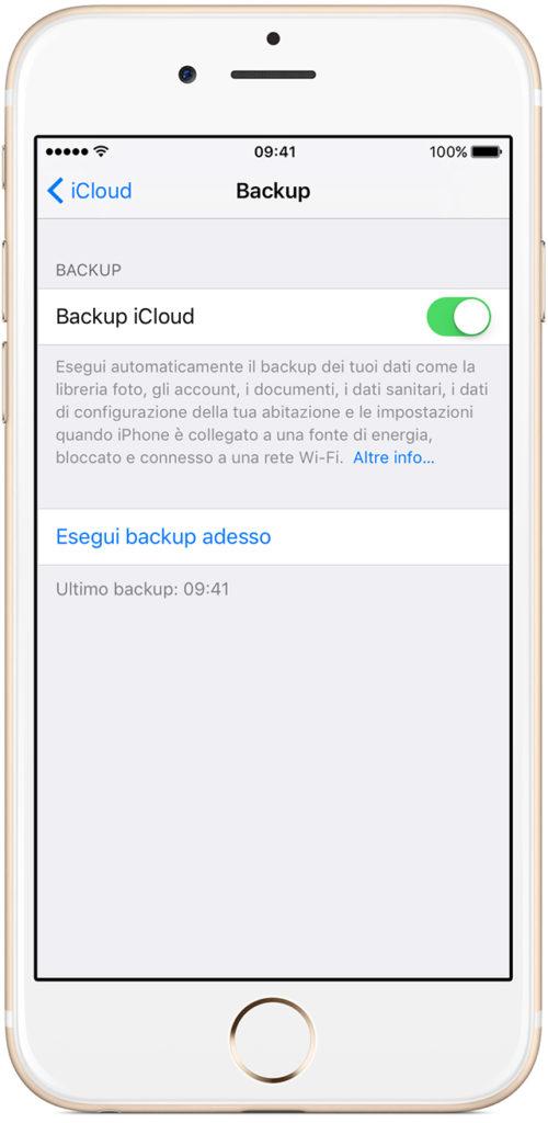 Backup su iCLoud