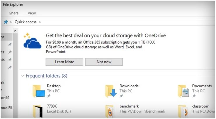pubblicita Windows 10