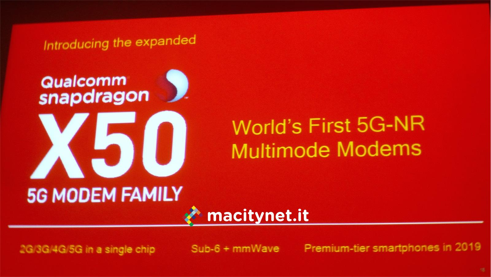 iphone 5G, foto presentazione qualcomm X50 5G 5