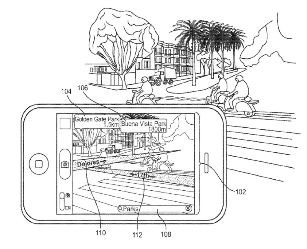 Disegno tecnico della presentazione AR di Apple tra iPhone e realtà.