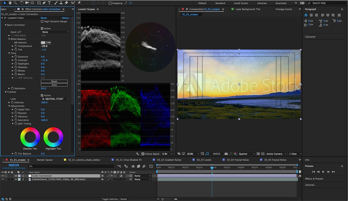 After Effects CC - Lumetri Scopes