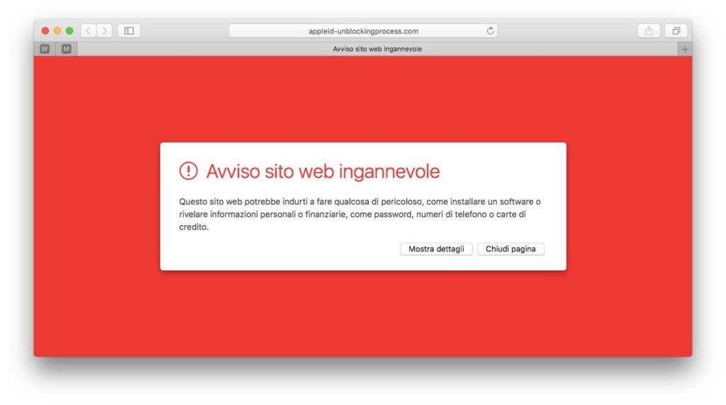 Alcuni siti ingannevoli sono identificati automaticamente da Safari