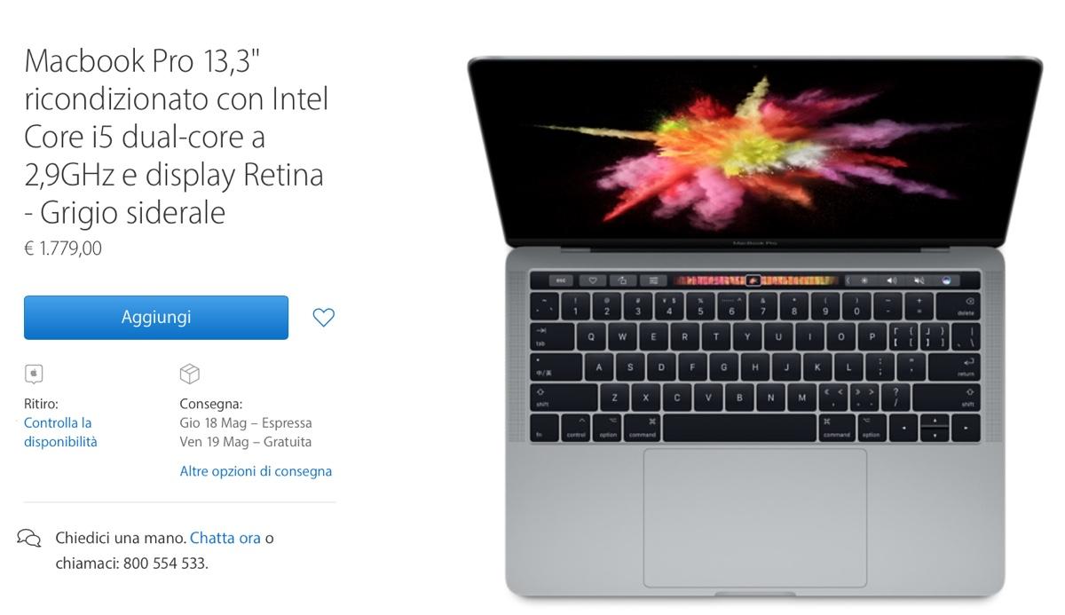 MacBook Pro con Touch Bar ricondizionati Apple