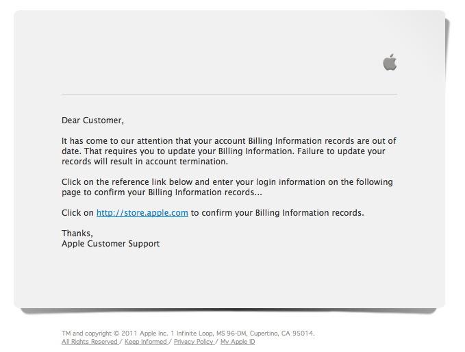 Altra finta mail che SEMBRA provenire da Apple