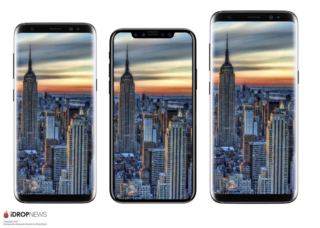 misure iPhone 8 confronto Galaxy S8 render