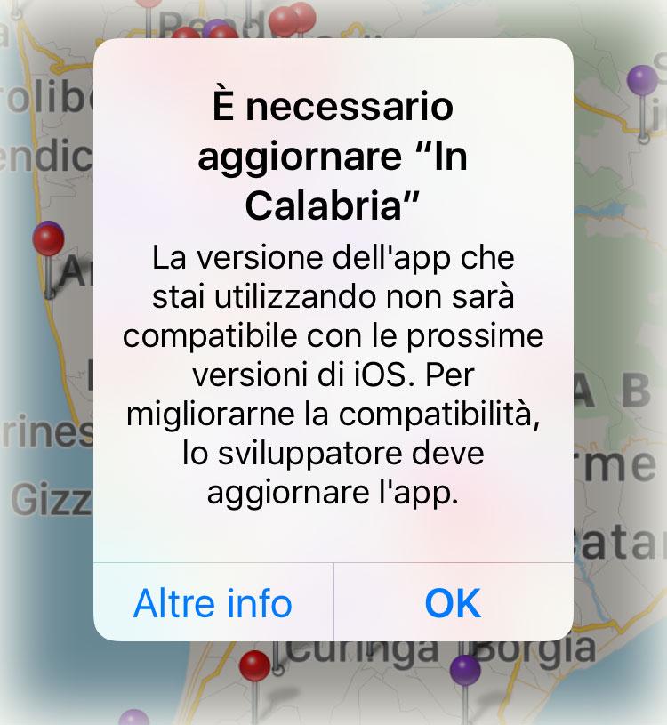 Messaggio di avviso che appare ora su iOS quando si avvia una vecchia app non aggiornata a 64 bi