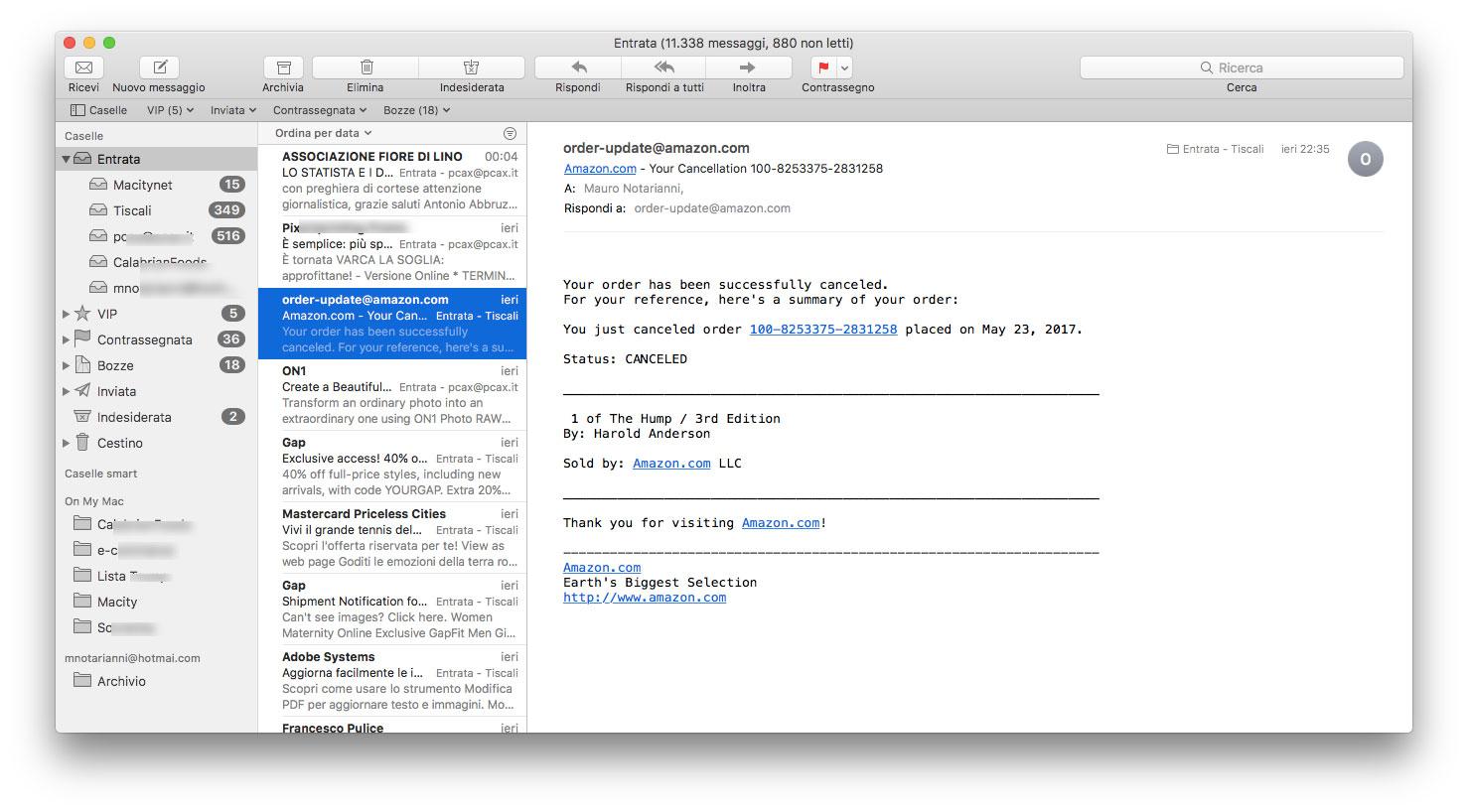 Esempio di mail che potrebbe ingannare utenti poco attenti. SEMBRA arrivare da Amazon: in realtà i link rimandano ad un sito di phishing