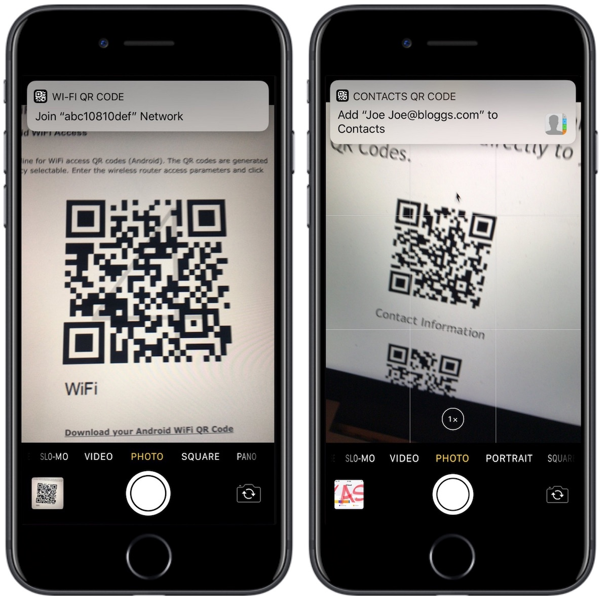 Fotocamera iOS 11 codici QR