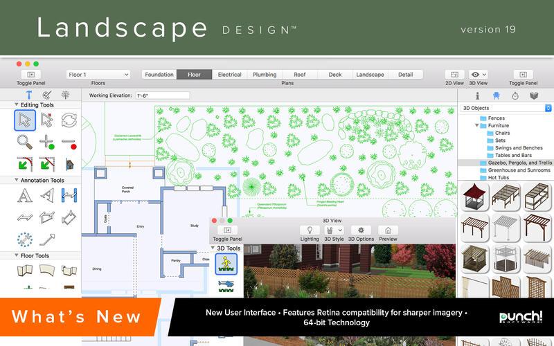 Landscape design 19 aggiornata l 39 app mac per la for Progettazione giardini software