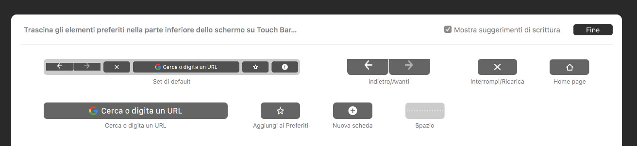 Personalizza Touch Bar