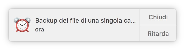 backup di una cartella su Mac