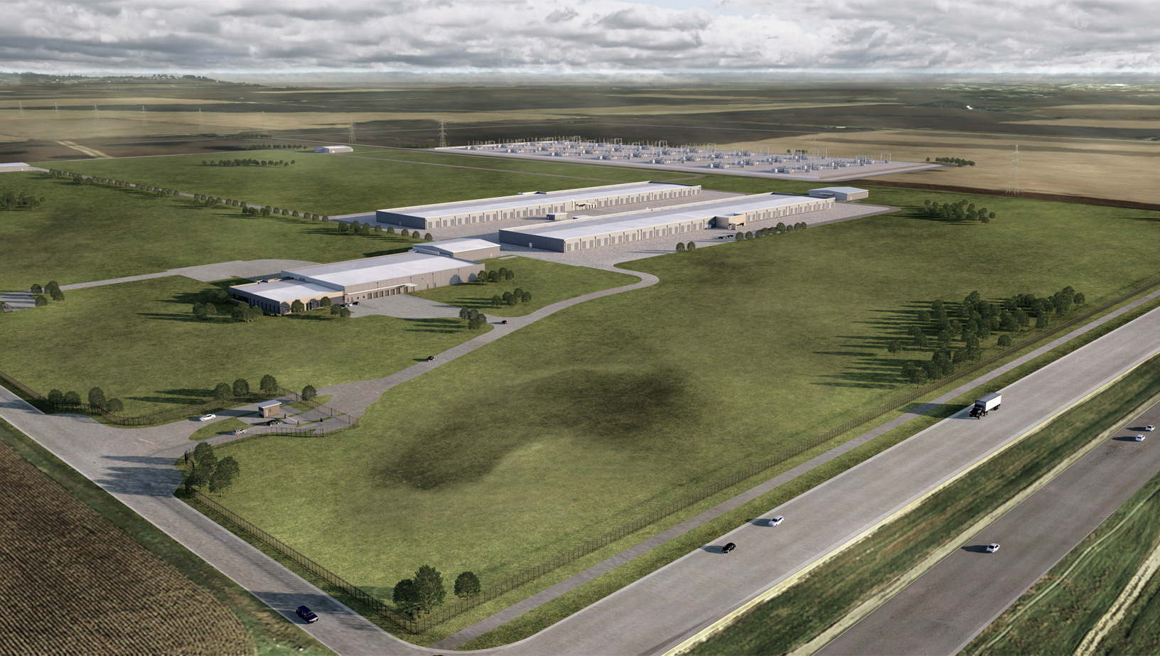 Rendering del nuovo data center nell'Iowa