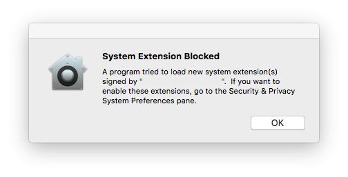 messaggio di blocco di una estensione
