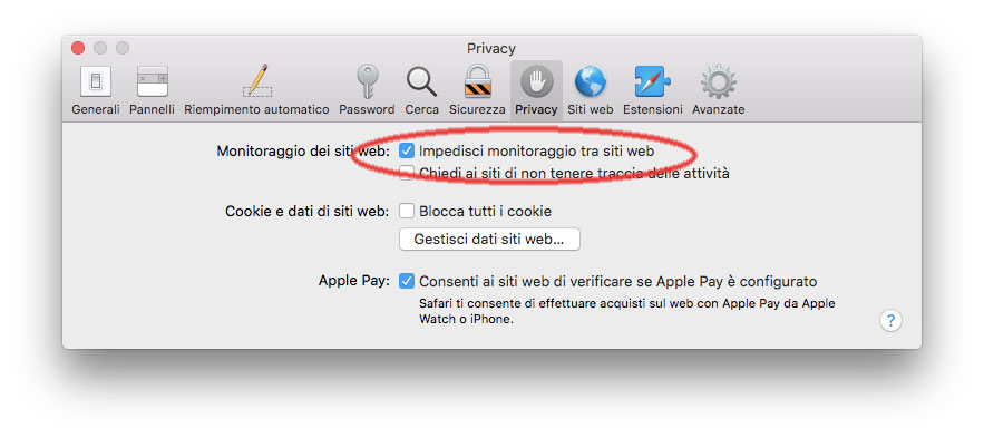 Nuova prefenza che blocca in monitoraggio tra siti web in Safari per macOS 10.13 High Sierra