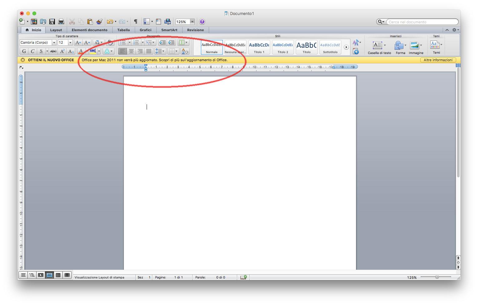 supporto Microsoft Office per Mac 2011