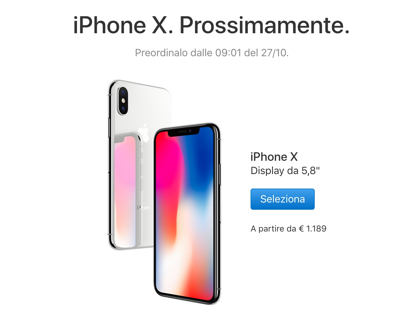Prezzo iphone x euro in italia arriva il 3 for Iphone x 3 italia