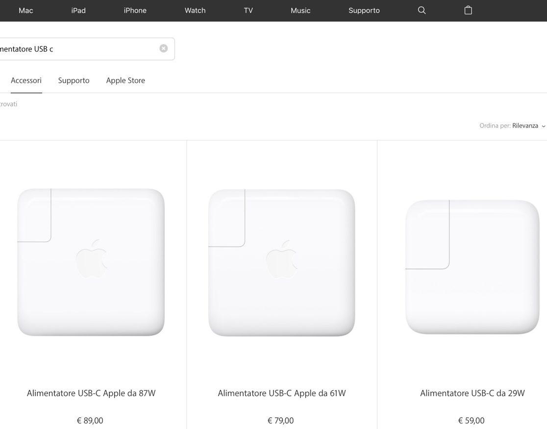 ricarica rapida iPhone 8 e iPhone x ricarica rapida alimentatore usb-c Apple