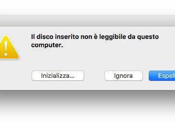 Il messaggio che compare all'inserimento di un disco USB cifrato con il filesystem APFS di macOS 10.13 High Sierra su un Mac con macOS 10.12 Sierra
