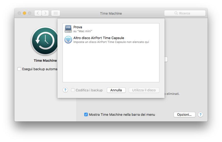 """La cartella """"Prova"""" condivisa sul Mac mini con macOS 10.13 High Sierra, vista dalla sezione """"Time Machine"""" delle Preferenze di un MacBook Air con macOS 10.12.6 Sierra"""