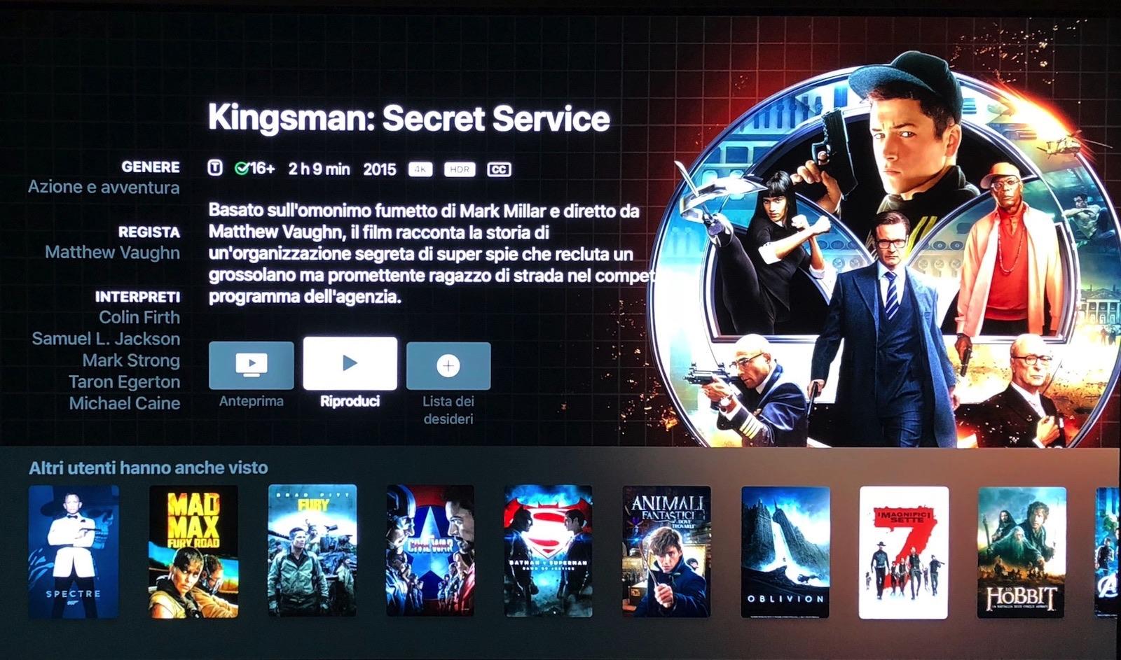 kingsman nella recensione Apple TV 4K