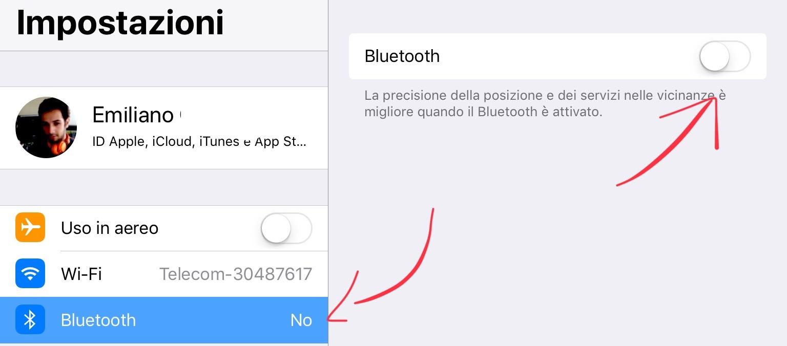 Come spegnere Bluetooth e WiFi su iOS 11