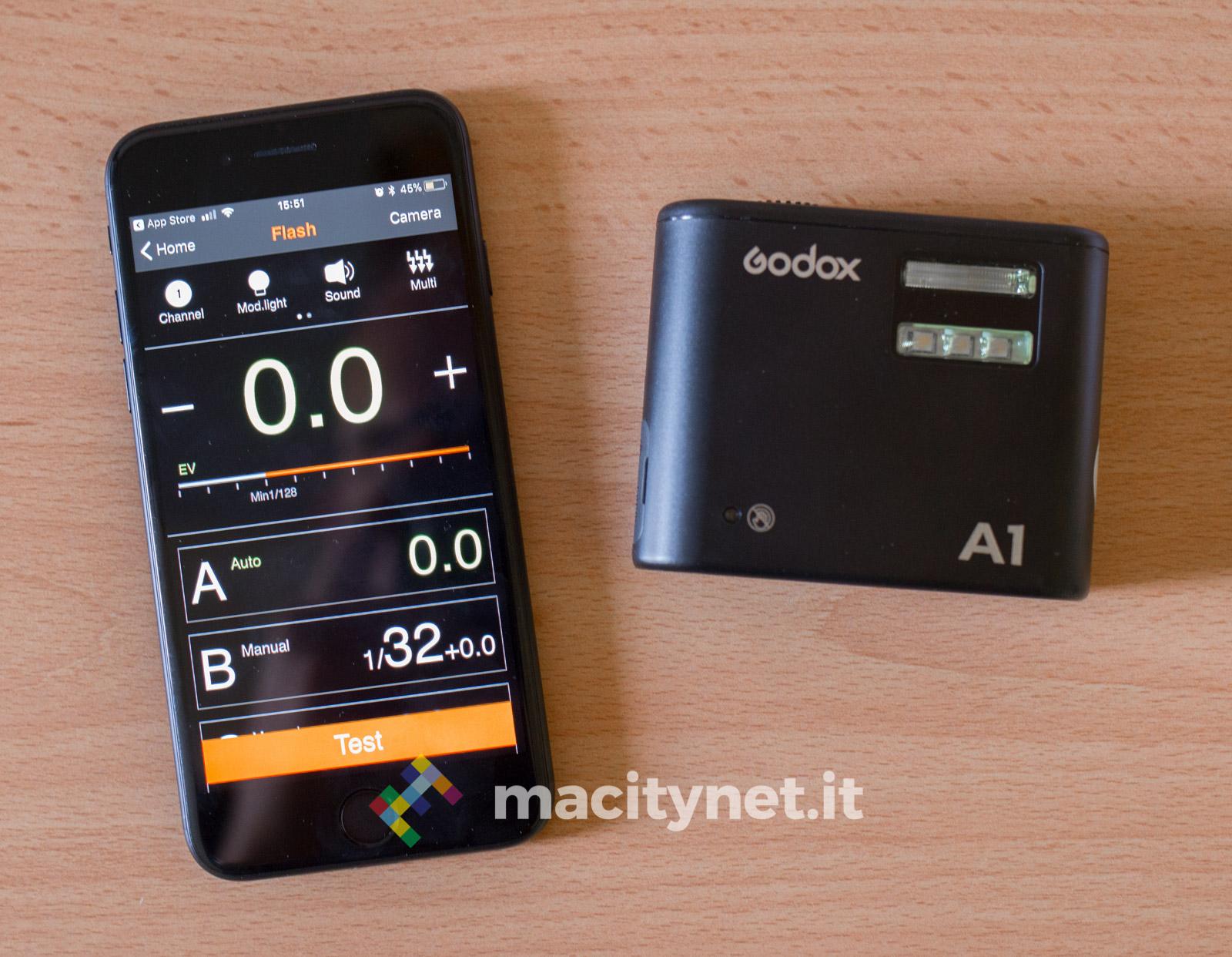 Godox A1 flash esterno per foto con iPhone