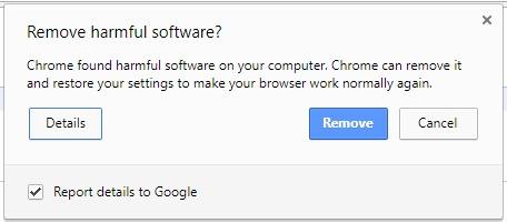 Il pannello della funzione antivirus di Chrome