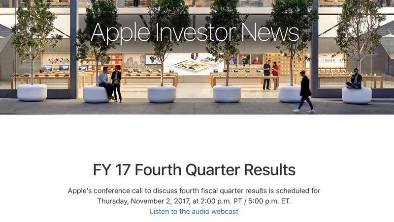 risultati finanziari apple Q4 2017 2 novembre