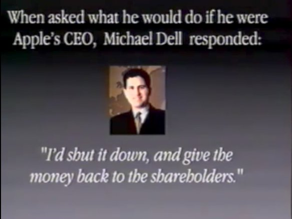 michael dell Una slide del 1997 in una presentazione di Apple per i manager interni