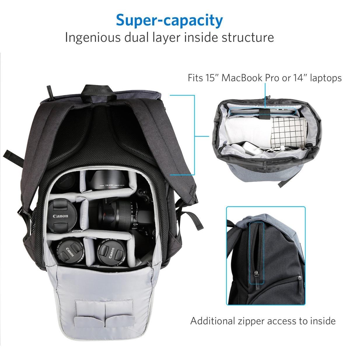 a2d02a395d Una buona parte superiore permette di stipare una felpa o qualsiasi altra  cosa, e c'è una tasca sufficientemente ampia per ospitare un MacBook Pro  15'' o un ...