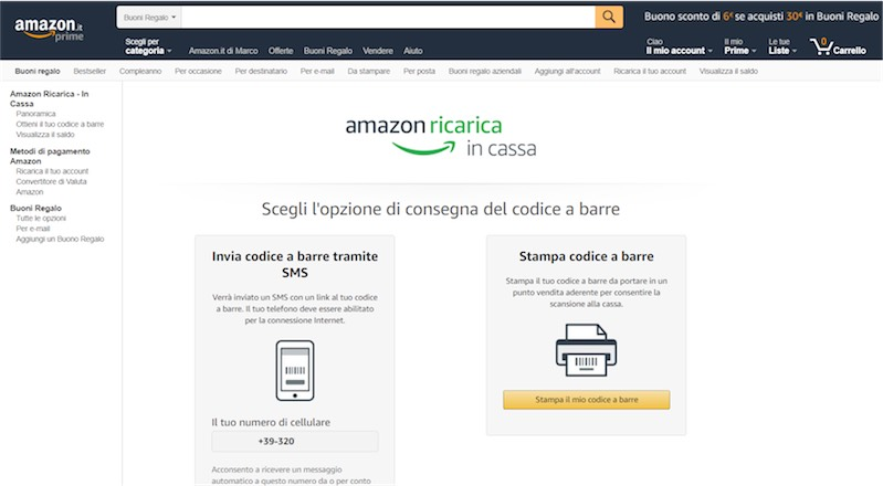 Amazon Ricarica in Cassa 7