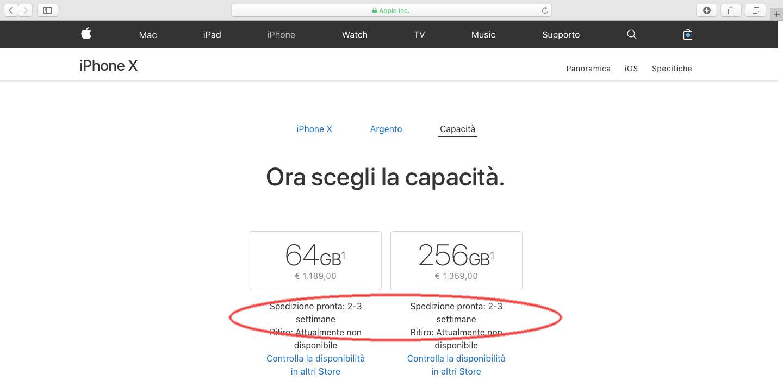 tempi di consegna di iPhone X