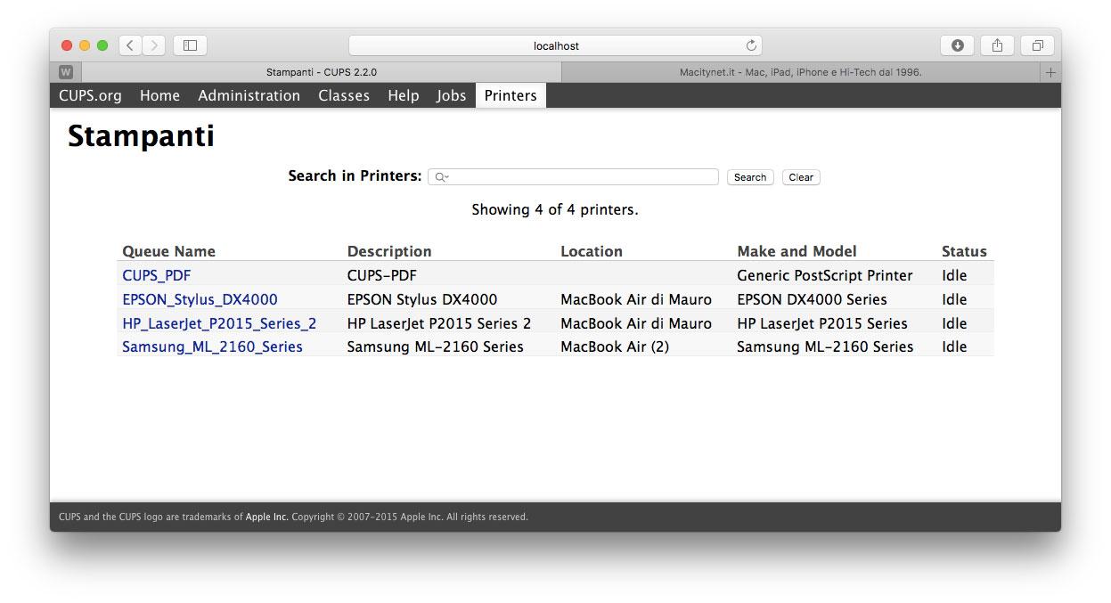 L'interfaccia web di CUPS, il ervizio di stampa di rete utilizzato dai Mac