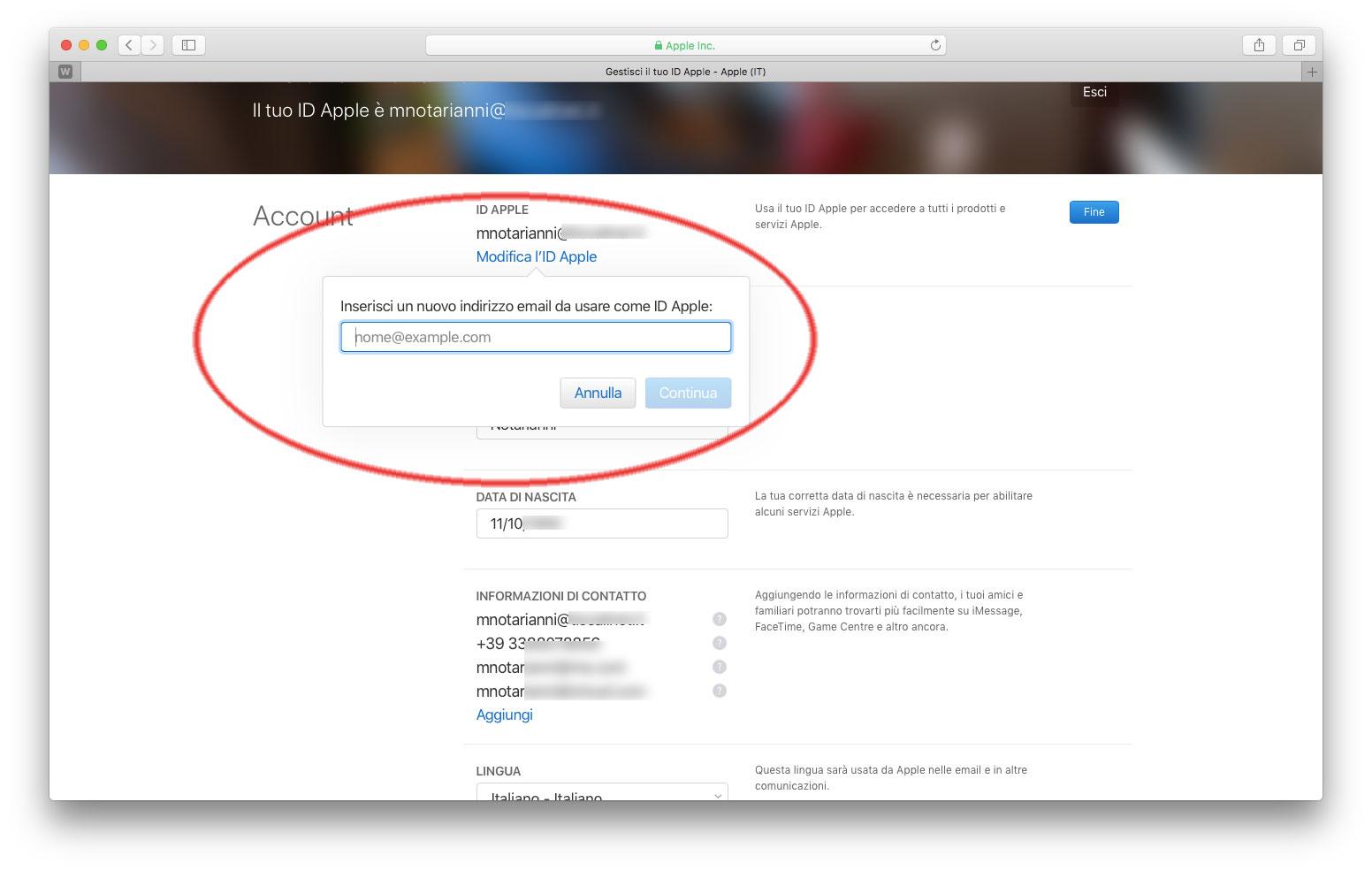 Modifica indirizzo mail account Apple