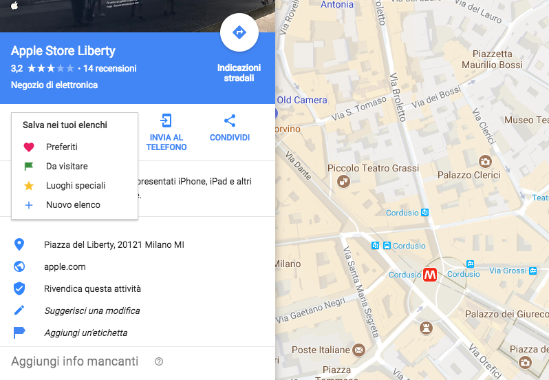 liste di google maps