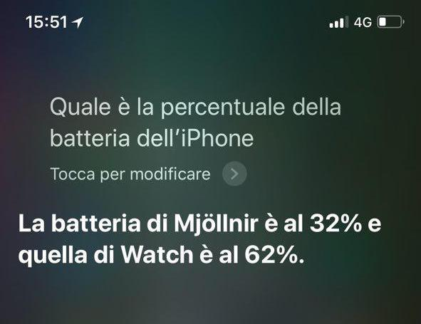 La percentuale della batteria di iPhone X vista da Siri