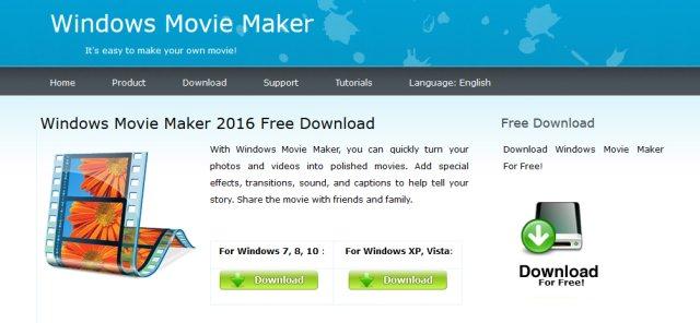 Il sito web dal quale viene proposto lo scaricamento della finta versione malevola di Windows Movie Maker
